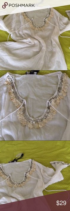 White embellished swim dress XL made in India embellished swim dress embellished heavily with mother of pearl beads and silver squeens club Z collection Dresses Midi