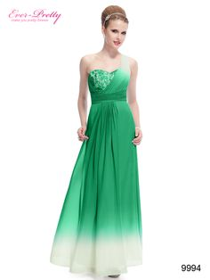 One Shoulder Ruched Lace Green Ombre Long Party Dress 09994
