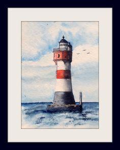Aquarell - Unikat - Leuchtturm Roter Sand- 13x18 cm - ohne Rahmen und Passepartout - 15% Rabattaktion von ArtRuthTrinczek auf Etsy #Malkurs, #art #painting #color #real #best #watercolour #aquarell #farben #malen #kunst