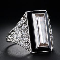 1.82 Carat Cognac Diamond Baguette and Onyx and Diamond Art Deco