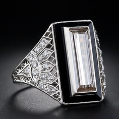 1.82 Carat Cognac Diamond Baguette and Onyx and Diamond Art Deco Ring