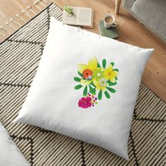 'flowers for you' Floor Pillow by Flowers For You, Buy Flowers, Floor Pillows, Throw Pillows, Scatter Cushions, Pattern Design, Floral Design, Art Prints, Printed