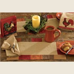 """Ginger Spice Placemat - The patchwork border on this placemat features warm spice tones and reverses to napkin fabric. 100% cotton. Machine washable. 13"""" x 19"""" #country #kitchen #table #placemat"""
