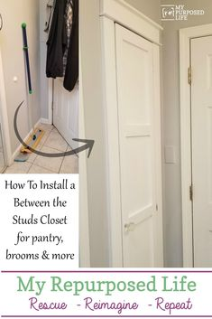 Between The Studs Broom Closet is part of Diy closet storage - Building a closet between the studs is a great option for the kitchen or bathroom This diy storage closet is perfect for storing large storage items Broom Storage, Laundry Room Storage, Wall Storage, Closet Storage, Diy Storage, Storage Organization, Laundry Closet, Storage Ideas, Organizing
