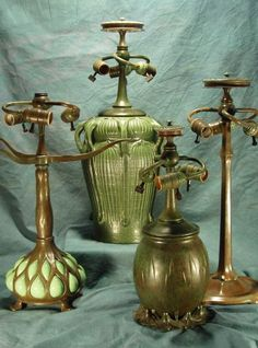 At Century Studios we are pleased to offer over 65 reproduction lamp bases and chandelier fixtures to compliment our stained glass shades. Antique Lamps, Antique Lighting, Vintage Lamps, Antique Pottery, Art Nouveau, Studio Lamp, Stained Glass Lamps, Cool Lamps, Tiffany Glass