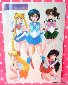 A shitajiki / illustration picture board for the Japanese shojo anime, Sailor Moon. The stationery item with the illustration of Usagi, Makoto, Ami, Minako and Rei is for Sailor Moon R.