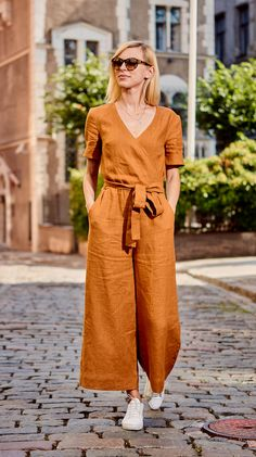 Trendiest Linen Wrap Jumpsuit FLORENCE, Jumpsuit for Woman, Jumpsuit for everyday or special moments, Handmade by LinaKraun Rompers Women, Jumpsuits For Women, Summer Outfits, Casual Outfits, Fashion Outfits, Wrap Jumpsuit, Romper Pants, Linen Dresses, Feminine Fashion