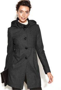 DKNY Hooded Wool-Blend Babydoll Coat on shopstyle.com