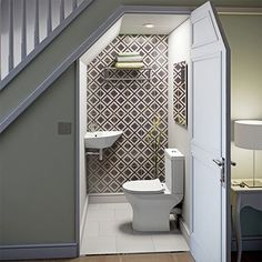 downstairs toilet utility room under stairs Bathroom Under Stairs, Downstairs Bathroom, Bathroom Layout, Toilet Under Stairs, Bathroom Designs, Small Basement Bathroom, Small Toilet Room, Small Wc Ideas Downstairs Loo, Space Under Stairs