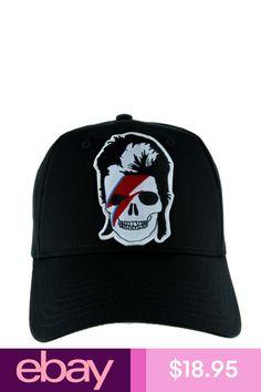 8bea2977cee David Bowie Skull Lightning Bolt Hat Baseball Cap Gothic Punk Ziggy  Stardust Emo