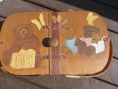 Picnic Basket; hand painted bears on basket; basket for what-nots or going on picnics; travel basket; vintage wooden basket; old and rare