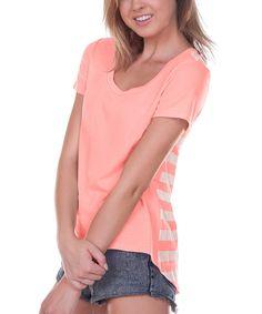 Look at this Kavio! Flamingo & White Stripe Hi-Low Tee on #zulily today!