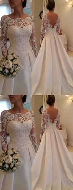 Fashion Scoop Lace Appliques wedding dresses, elegant bride Dress With Long Sleeves,