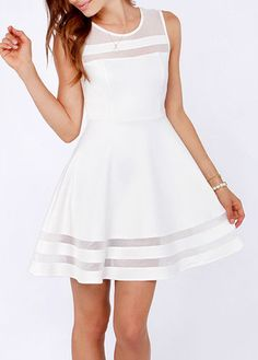 Fine Quality Round Neck Sleeveless Woman White Dress