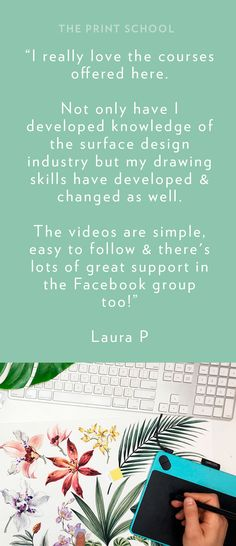 Testimonial for the Online Photoshop for Textile design courses.