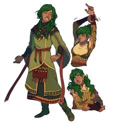 Female Human Mage Dark Skin Green Hair