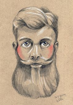 Bearded Man. Drawing by Elli Maanpää. 2014 // #bearded #beard #portrait #man #drawing #illustration #pencil