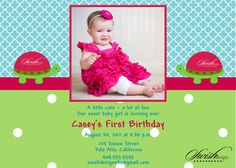 First Birthday Printable Invitation for girls Turtle polka dot teal 1st birthday photo invite digital by SwishPrintables