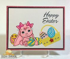 Most Adorable Easter Bunny - handmade card by Susan Sieracki; image from The Paper Shelter