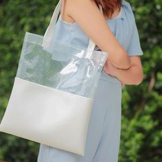 White Faux Leather Tote Half Grid Half by pingypearshop on Etsy