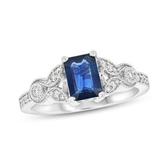 Zales Emerald-Cut Lab-Created Blue and White Sapphire Frame Split Shank Ring in Sterling Silver - Size 7 rfLvHZiBED