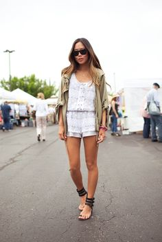 Love this cropped slouchy military jacket and lace romper from Bar III
