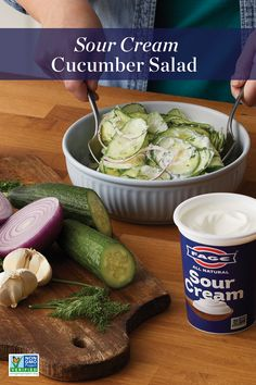 Creamed Cucumber Salad, Creamed Cucumbers, Cucumber Recipes, Vegetable Recipes, Salad Recipes, Diet Recipes, Vegetarian Recipes, Cooking Recipes, Healthy Recipes