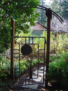 nestled copper-pipe gate, for brick patio enclosure back porch Pergola With Roof, Covered Pergola, Diy Pergola, Pergola Kits, Pergola Cover, Trellis Gate, Garden Trellis, Rustic Gardens, Outdoor Gardens