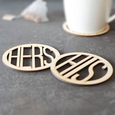 Celebrate a terrific twosome with a His and Hers Wooden Coaster Set.    These beautifully engraved coasters with His and Hers wording will