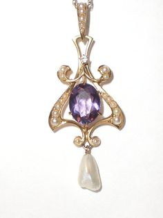 Art Nouveau Style Circa 1920's Amethyst, Seed Pearl & Gold Pendant Style Necklace