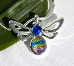 Bee Pendant - Fused Glass Jewelry - Rainbow and Blue Dichroic Glass Necklace - Insect Pendant by TremoughGlass on Etsy