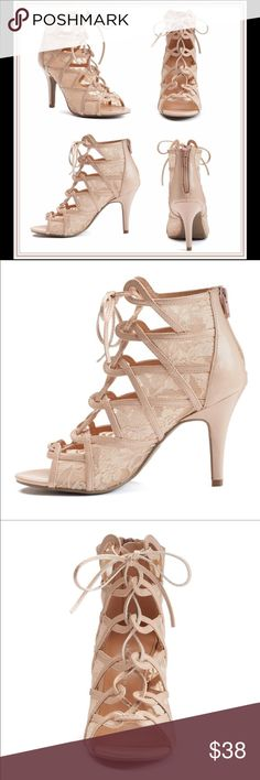 Lauren Conrad Nude Lace-Up Heels Lauren Conrad sexy lace up heels• Manmade lining and outsole• Padded insole• Peep toe• 3.5 inch heels• No Trade/PP LC Lauren Conrad Shoes Heels