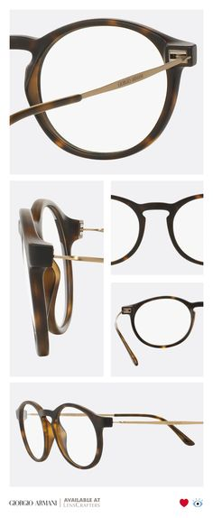 Look distinguished with the Giorgio Armani Frames of Life collection, featuring detailed gold metal temples, giving this simple shape a charming twist.