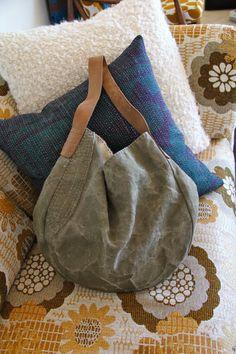 The Agave Gusset Sack - Handmade Vintage Belgian Linen Hobo Bag