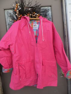 vtg   Hot pink   pvc vinyl raincoat slicker by Linsvintageboutique