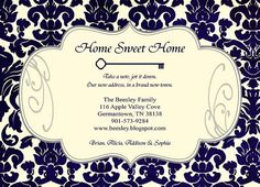 Moving Announcement Damask Home Sweet Home by SweetBeeDesignShoppe
