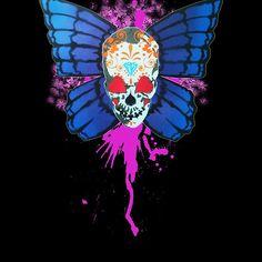 'Butterfly sugar skull' by barry neeson Sugar Skull, Original Art, Shirt Designs, Butterfly, Halloween, People, Sugar Skulls, People Illustration, Butterflies