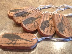 Rustic Wood  Script with black bird Gift Tag Favour by Paper2Roses