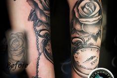 Rose tattoo cover up Rose Tattoo Cover Up, Up Tattoos, Tattoo Studio