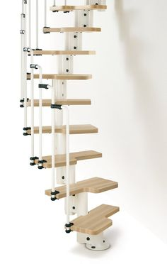 spiral ships ladder - need metal parts though...? Chic Brown Space Saving Loft Stairs Idea With White Banister -