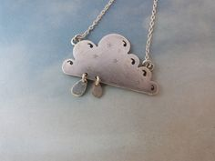 handmade from resycled silver little cloudy necklace with raindrops