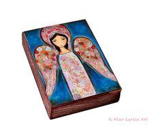 Angel en Rosa  ACEO Giclee print mounted on Wood 2.5 por FlorLarios, $10.00