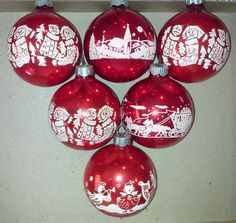 Vintage Shiny Brite Stenciled Red and White by FingerLakesFinds