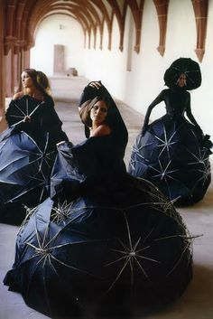 umbrellas turned inside out on themselves Jez Eaton umbrellas