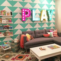 Love to make a puppy play room like this Loft Playroom, Playroom Design, Playroom Decor, Kids Decor, Home Decor, Playroom Table, Wall Decor, Colorful Playroom, Home Daycare