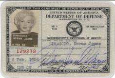 vintage everyday: A Marilyn Monroe's ID Card, 1954