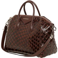 GIVENCHY Medium Antigona Pirarucu & Leather Bag ($3,146) ❤ liked on Polyvore featuring bags, handbags, purses, bolsas, borse, genuine leather bag, brown leather purse, brown leather bag, givenchy purse and brown purse