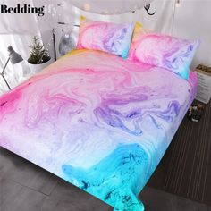 Colorful Marble Bedding Set Pastel Pink Blue Purple Quicksand Duvet Cover Abstract Art Bed Set Bright Girl Bedspread - Aubrey's room - Boho Bedding Purple Duvet, Blue Bedspread, Pink Comforter, Comforter Cover, Teen Girl Bedding, Kids Bedding Sets, Cute Bedding, Boho Bedding, Luxury Bedding