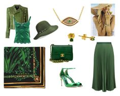 """Green fashion,"" by stavrosdragatakis ❤ liked on Polyvore featuring Versace, Dolce&Gabbana, Balmain, Betmar, Chanel, Vanessa Bruno and dragatakisjewellery"