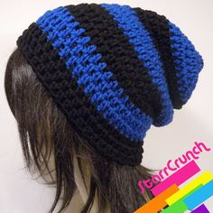 April Showers - 20% OFF Slouchy Beanie Crochet Hat in Cobalt Blue and... ($14) ❤ liked on Polyvore